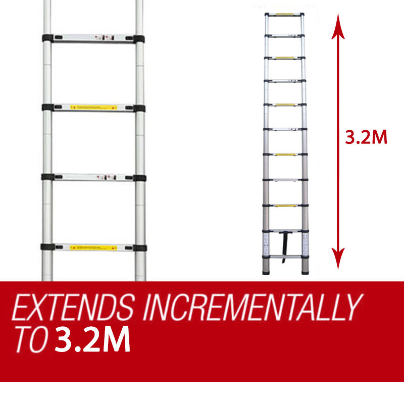 Portable 3 2m Telescopic Extendable Ladders With A Free