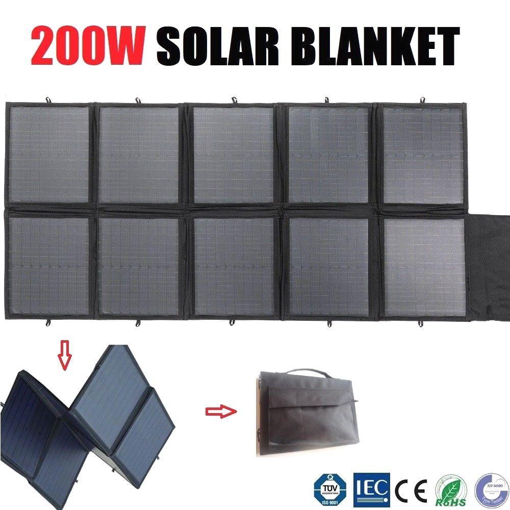 200w Folding Solar Panel Blanket Flexible Portable Bag 12v